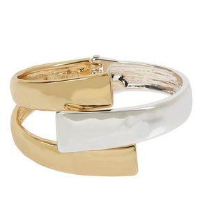 ROBERT LEE MORRIS two-tone bypass bangle bracelet